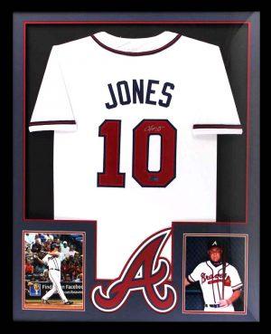 Chipper Jones Signed Atlanta Braves Framed White Custom Jersey-0