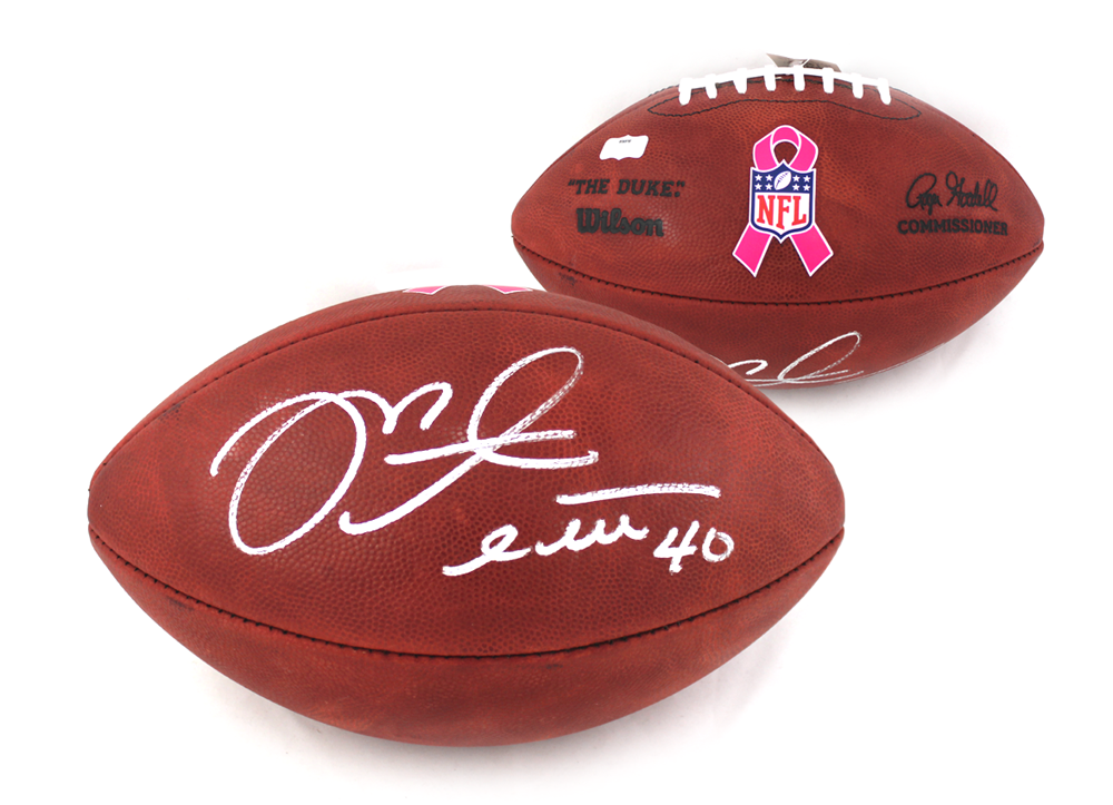 info for 2d701 fd0e4 Mike Alstott Signed NFL Authentic Breast Cancer Awareness Football - Tampa  Bay Buccaneers