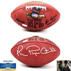 Michael Irvin Autographed/Signed Dallas Cowboys Wilson Throwback Authentic NFL Football with quotPlaymakerquot Inscription-0