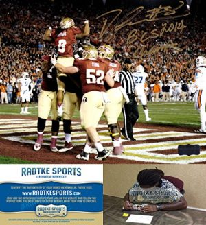 "Devonta Freeman Autographed/Signed Florida State Seminoles 8x10 NCAA Photo with ""2014 BCS Champs"" Inscription-0"