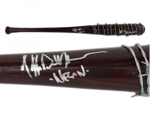 """Jeffrey Dean Morgan Signed Barbed Wire Lucille Bat with """"Negan"""" Inscription - The Walking Dead-0"""