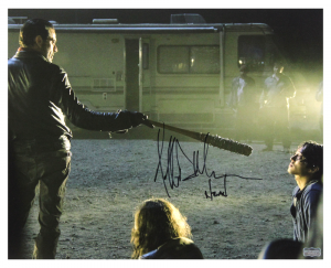"Jeffrey Dean Morgan Signed The Walking Dead 16x20 Photo (with Glenn) with ""Negan"" Inscription-0"