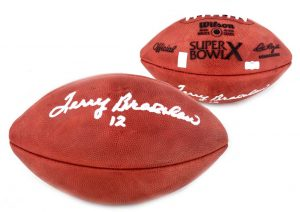 Terry Bradshaw Signed Pittsburgh Steelers Authentic Super Bowl X NFL Football-0