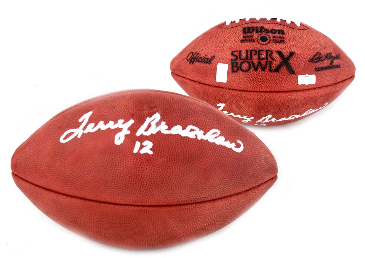 637eed572 Terry Bradshaw Signed Pittsburgh Steelers Authentic Super Bowl X NFL  Football-0