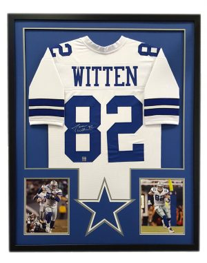 Jason Witten Signed Dallas Cowboys Custom Framed White Jersey - Cut Decal-0