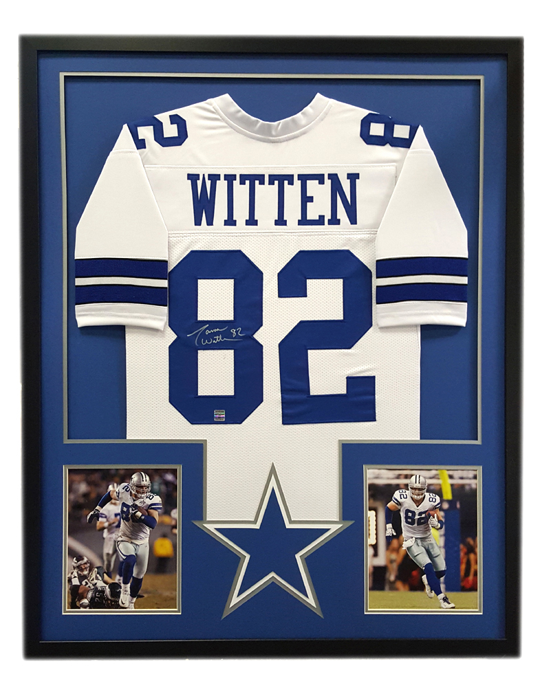 7829a804 Jason Witten Signed Dallas Cowboys Custom Framed White Jersey - Cut Decal