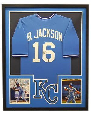 Bo Jackson Signed Kansas City Royals Powder Blue Framed Custom Jersey - Cut Decal-0