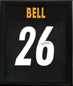 LeVeon Bell Signed Pittsburgh Steelers Framed Custom Black Jersey -0