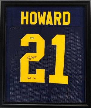 "Desmond Howard Signed Michigan Wolverines Framed Custom Blue Jersey With ""Heisman 91"" Inscription-0"