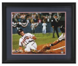 "Sid Bream Signed Atlanta Braves Framed 16x20 Photo with ""The Slide"" Inscription-0"