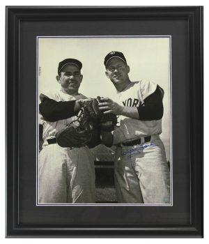 Whitey Ford Signed New York Yankees Black and White Framed 16x20 Photo - with Yogi Berra-0