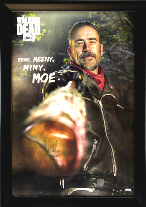 "Jeffrey Dean Morgan Signed The Walking Dead Framed Full Size Eeny, Meeny, Miny, Moe Poster With ""Negan"" Inscription-0"