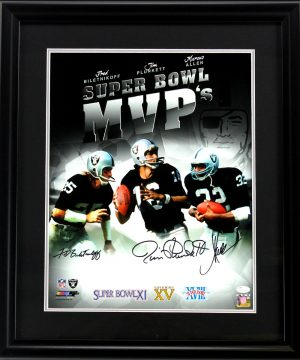Marcus Allen, Fred Biletnikoff & Jim Plunkett Signed Oakland Raiders Framed Super Bowl MVP's 16x20 NFL Photo -0
