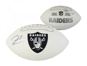 Derek Carr Signed Oakland Raiders Embroidered Football-0
