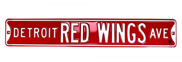 Detroit Red Wings Officially Licensed Authentic Steel 36x6 Red & White NHL Street Sign -21450