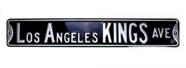 Los Angeles Kings Avenue Officially Licensed Authentic Steel 36x6 Black & White NHL Street Sign-21453