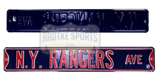 New York Rangers Avenue Officially Licensed Authentic Steel 36x6 Blue & Red NHL Street Sign-0