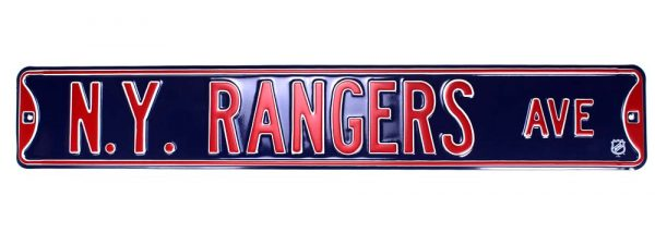 New York Rangers Avenue Officially Licensed Authentic Steel 36x6 Blue & Red NHL Street Sign-21456