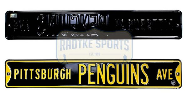 Pittsburgh Penguins Avenue Officially Licensed Authentic Steel 36x6 Black & Gold NHL Street Sign-0