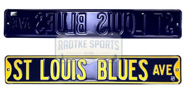 St. Louis Blues Avenue Officially Licensed Authentic Steel 36x6 Blue & Yellow NHL Street Sign-0
