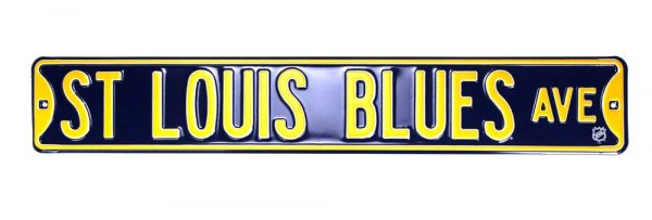 St. Louis Blues Avenue Officially Licensed Authentic Steel 36x6 Blue & Yellow NHL Street Sign-21462