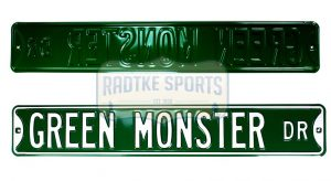 Boston Red Sox Green Monster Officially Licensed Authentic Steel 36x6 Green & White MLB Street Sign-0
