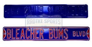 Chicago Cubs Bleacher Bums Blvd Officially Licensed Authentic Steel 36x6 Blue & Red MLB Street Sign-0