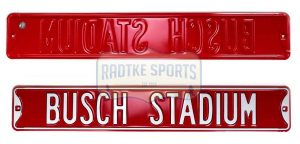 St. Louis Cardinals Busch Stadium Officially Licensed Authentic Steel 36x6 Red & White MLB Street Sign-0