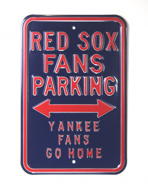 Boston Red Sox Officially Licensed Authentic Steel 12x18 Blue Parking Sign - Yankee Fans Go Home-0