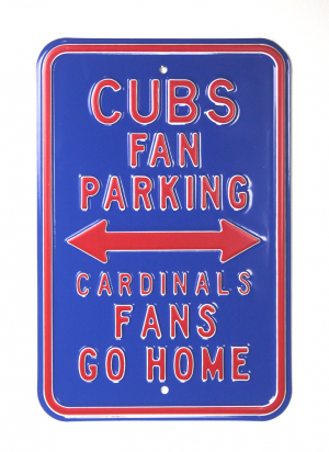 Chicago Cubs Officially Licensed Authentic Steel 12x18 Blue Parking Sign - Cardinals Fans Go Home-0