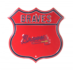 Atlanta Braves Officially Licensed Authentic Steel 17x17 Red Highway Route Sign-0