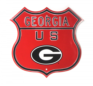 Georgia Bulldogs Officially Licensed Authentic Steel 17x17 Red Highway Route Sign-0
