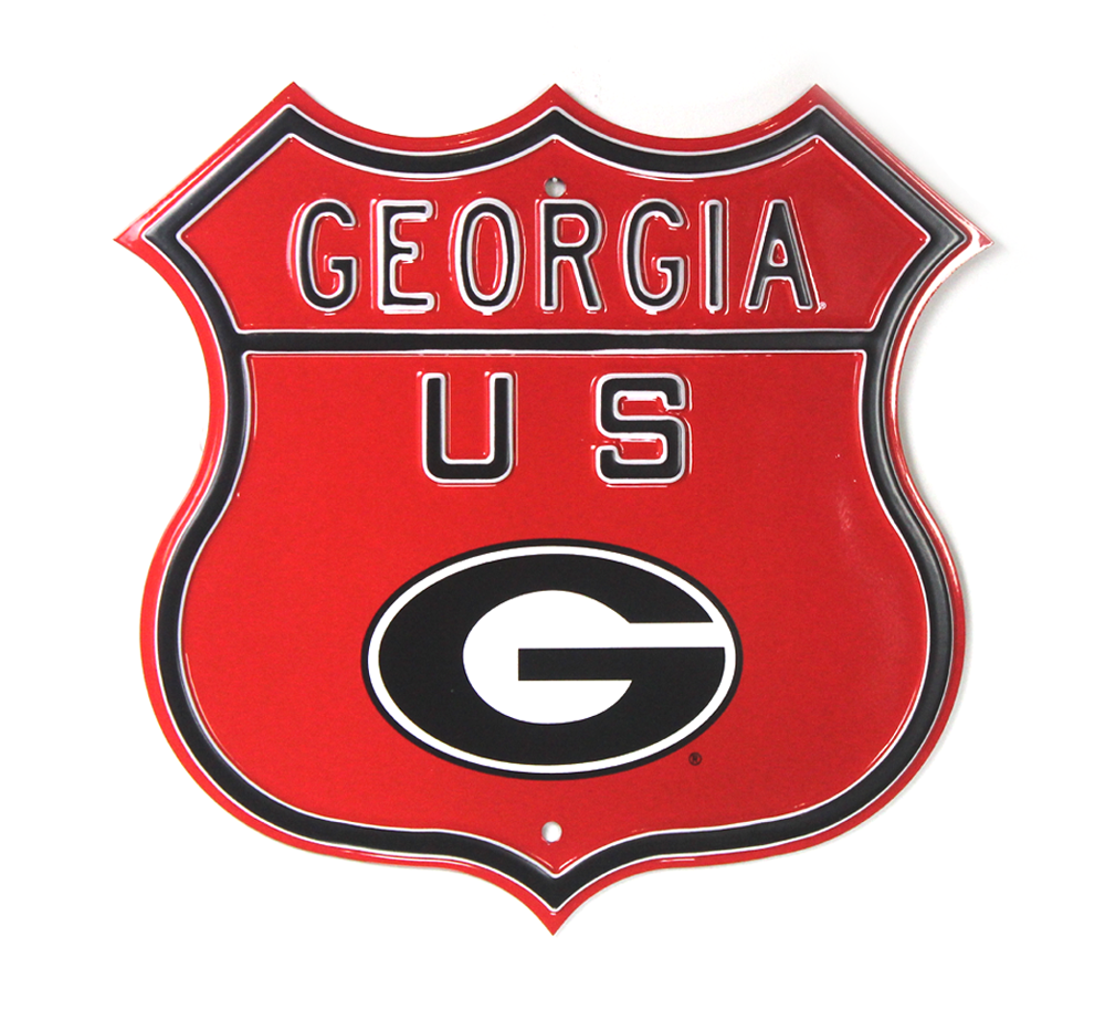 Georgia Bulldogs Officially Licensed Authentic Steel 17x17 Red Highway  Route Sign