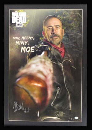 "Jeffrey Dean Morgan Signed The Walking Dead Framed Full Size Eeny, Meeny, Miny, Moe Poster With ""Negan"" Inscription-0"