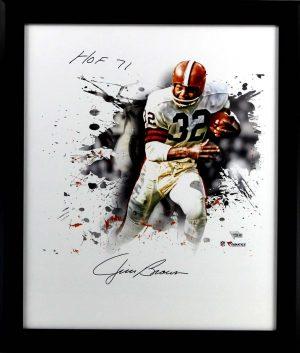 "Jim Brown Signed Cleveland Browns Framed 20x24 NFL Photo With ""HOF 1971"" Inscription -0"