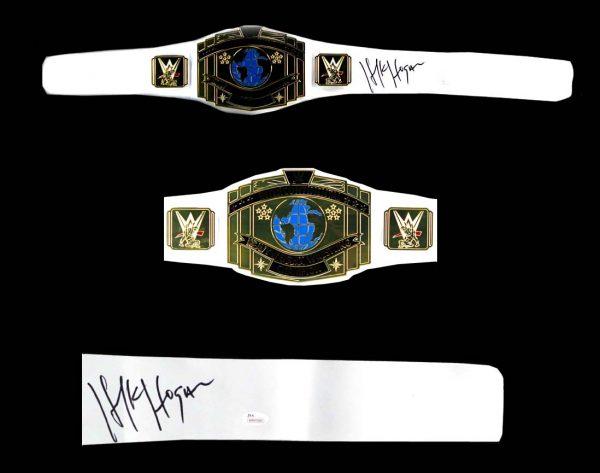 "Terry ""Hulk"" Hogan Signed WWE Championship White Wrestling Belt-22277"