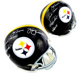 Pittsburgh Steelers Signed Defensive Greats Riddell Full Size NFL With 5 Signatures -0