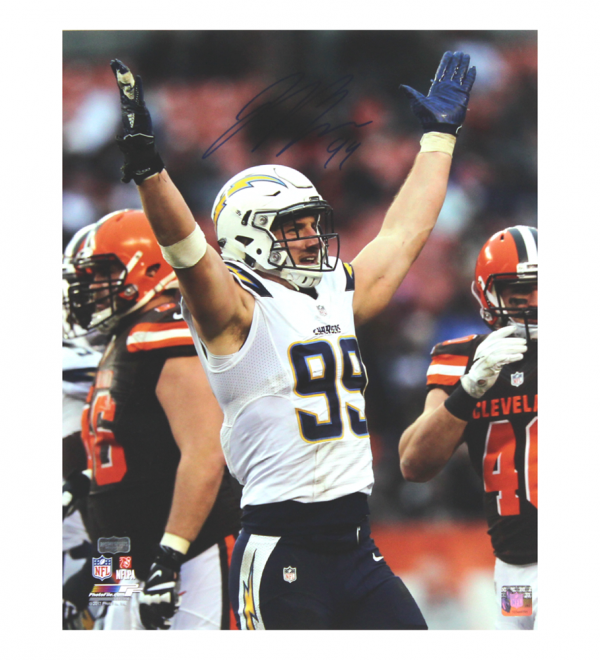 Joey Bosa Signed NFL Los Angeles Chargers 16x20 Photo - Blue Ink-23066