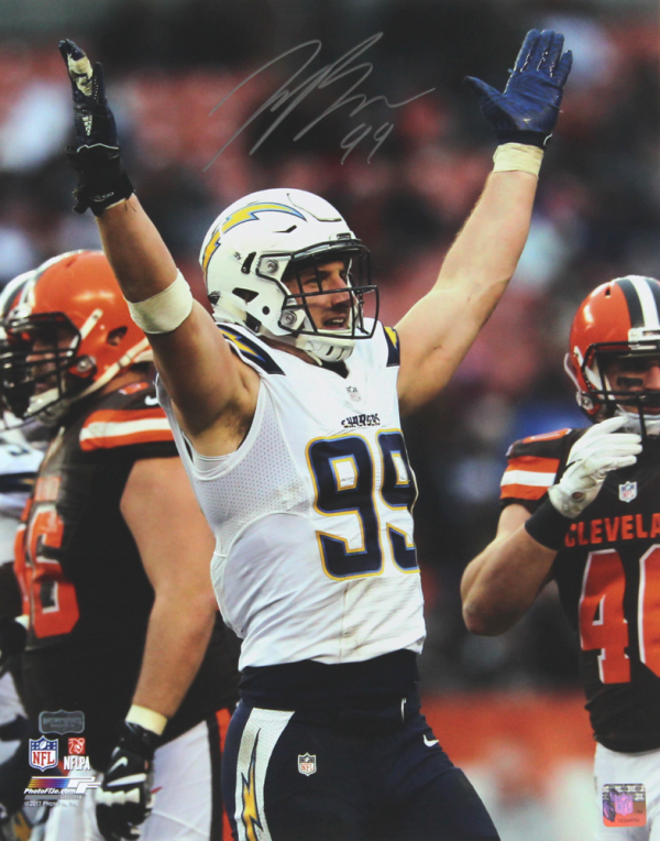 Joey Bosa Signed NFL Los Angeles Chargers 16x20 Photo - Silver Ink-0