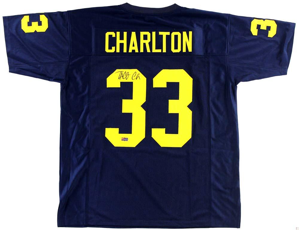 quality design 14f5b 42356 Taco Charlton Signed Michigan Custom Blue Jersey