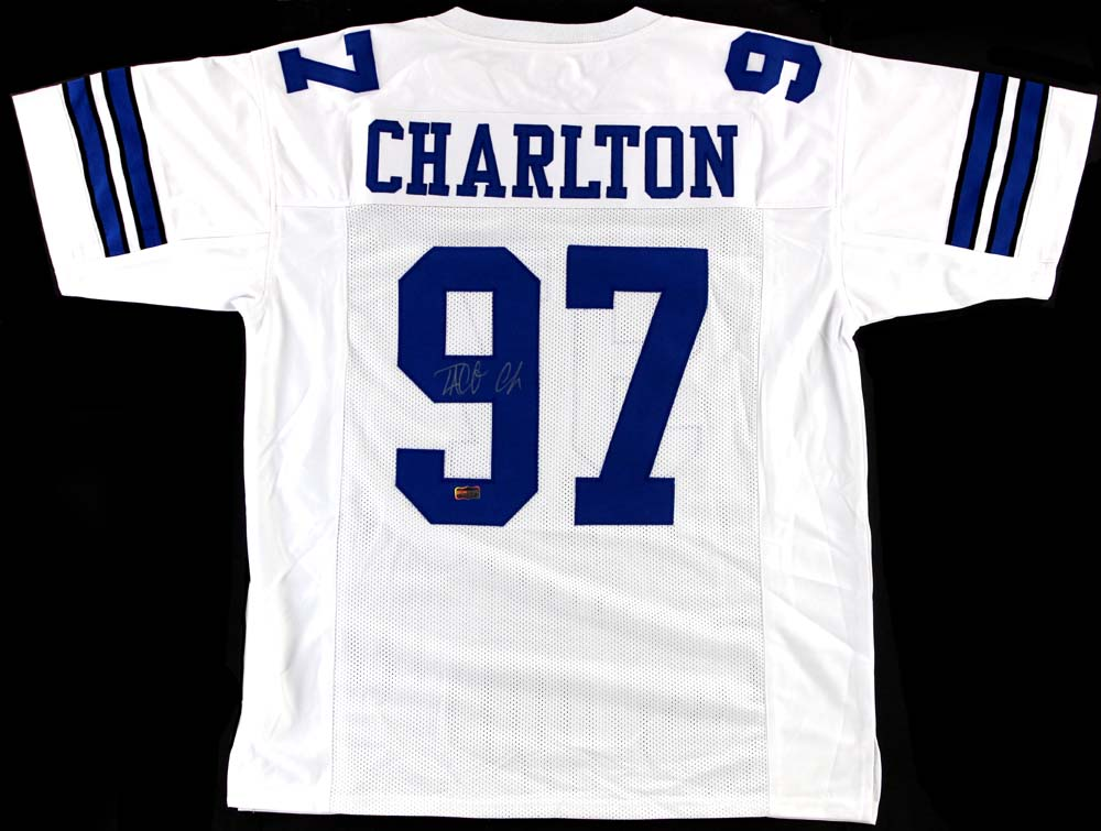 huge selection of 40204 58d63 Taco Charlton Signed Dallas Cowboys White Custom Jersey