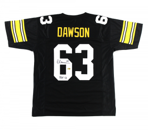 "Dermontti Dawson Signed Pittsburgh Steelers Black Custom Jersey with ""HOF 12"" Inscription-0"