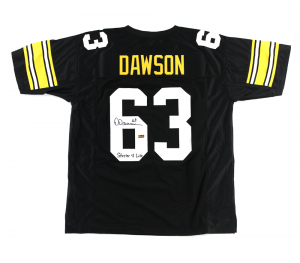 "Dermontti Dawson Signed Pittsburgh Steelers Black Custom Jersey with ""Steeler 4 Life"" Inscription-0"