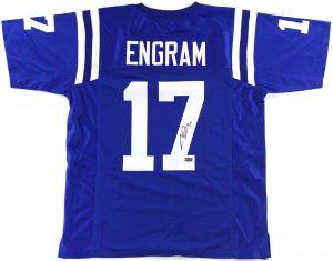 Evan Engram Signed Ole Miss Rebels Blue Custom Jersey-0
