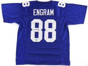 Evan Engram Signed New York Giants Blue Custom Jersey -0