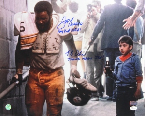 """Joe Greene & Tommy Okron Signed Pittsburgh Steelers Iconic Commercial 16x20 with """"Hey Kid, Catch"""" & """"Thanks Mean Joe!"""" Inscriptions-0"""