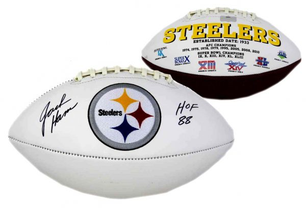 "Jack Ham Signed Pittsburgh Steelers Embroidered NFL Football With ""HOF 88"" Inscription -0"