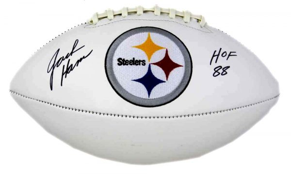 "Jack Ham Signed Pittsburgh Steelers Embroidered NFL Football With ""HOF 88"" Inscription -22618"