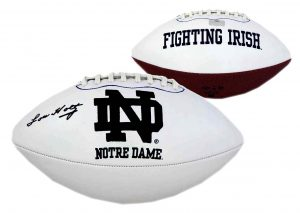 Lou Holtz Signed Notre Dame Fighting Irish Embroidered NCAA Football -0
