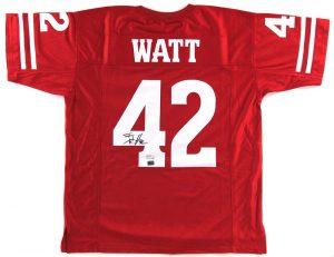 T.J. Watt Signed Wisconsin Badgers Red Custom Jersey -0
